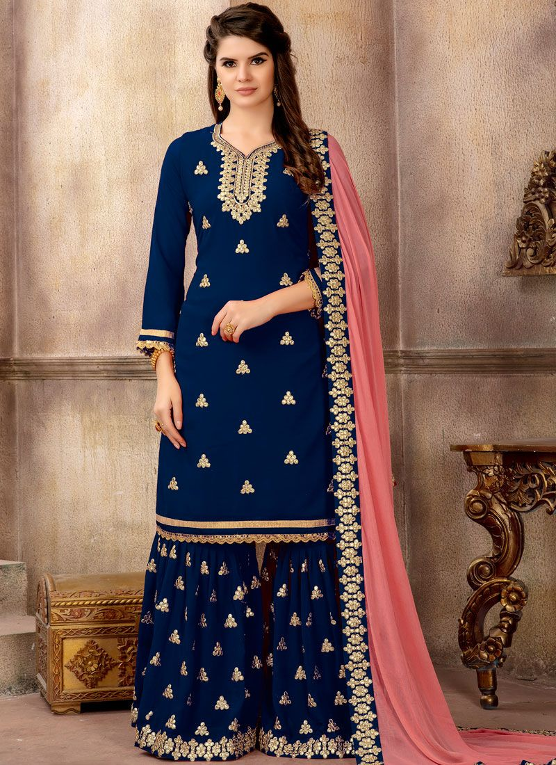 5eb721b997 Buy Blue Party Faux Georgette Designer Pakistani Suit Online -