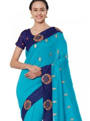 Blue Patch Border Art Silk Casual Saree