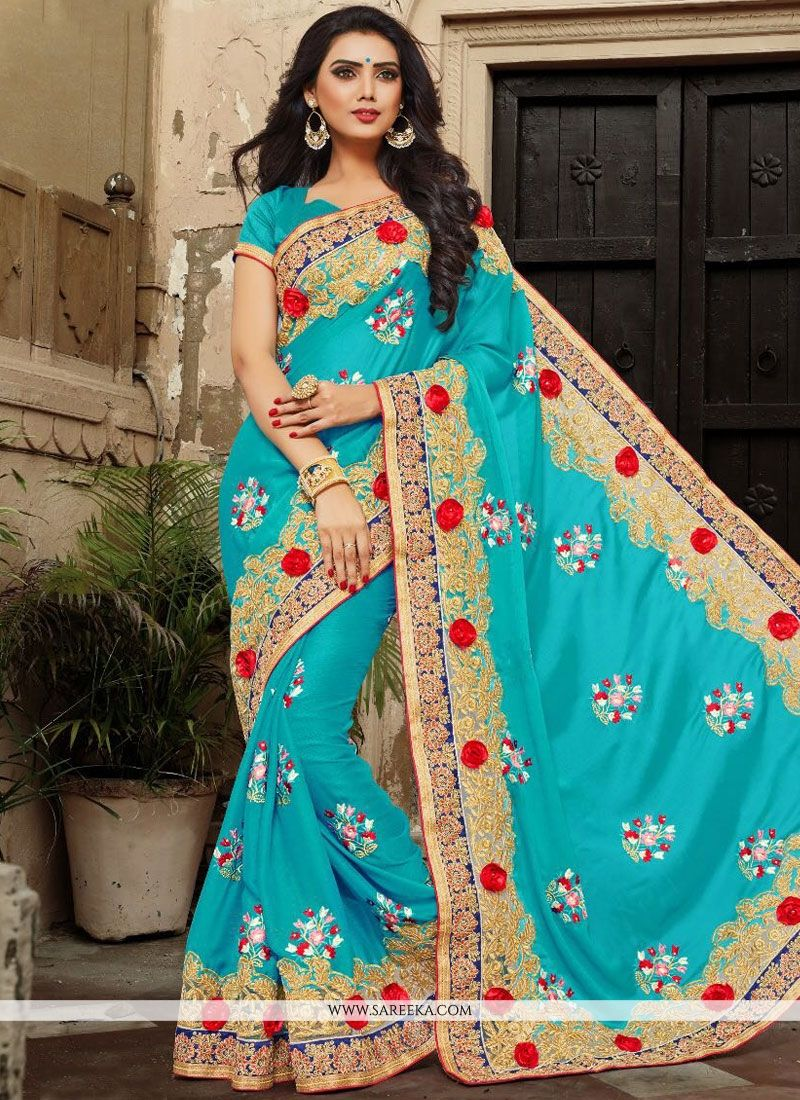Blue Patch Border Work Faux Georgette Classic Designer Saree
