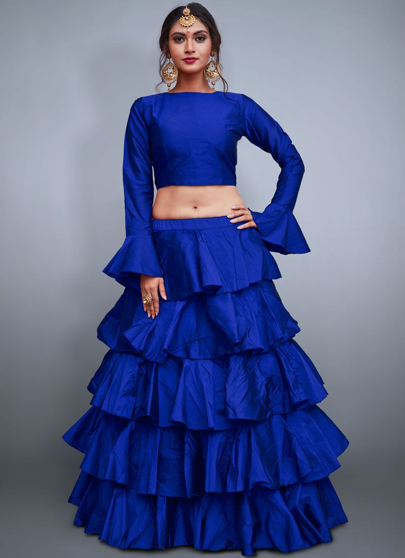 Blue Plain Readymade Lehenga Choli