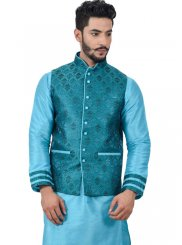 Blue Plain Work Art Silk Kurta Payjama With Jacket