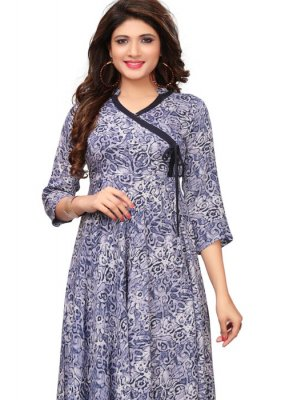 Blue Print Party Wear Kurti