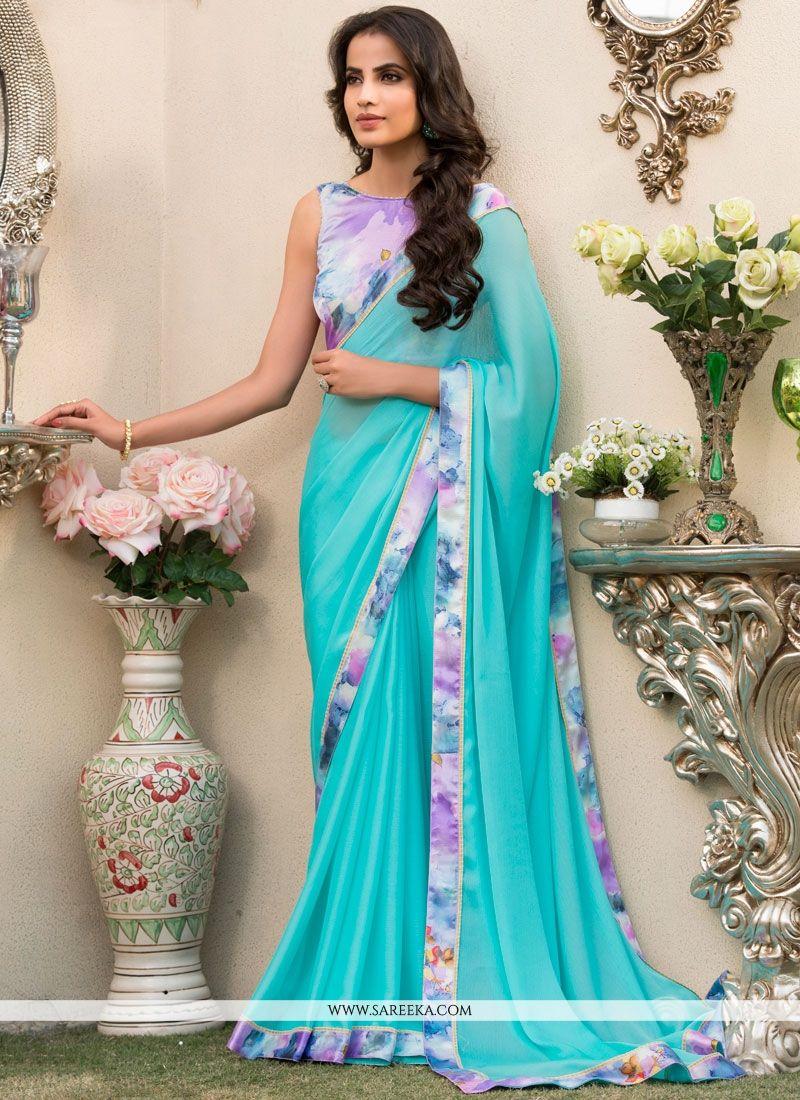 Blue Print Work Printed Saree