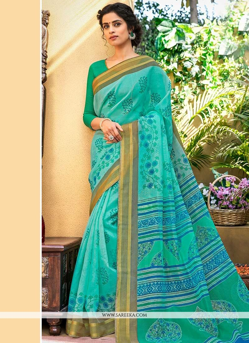 Blue Print Work Printed Saree