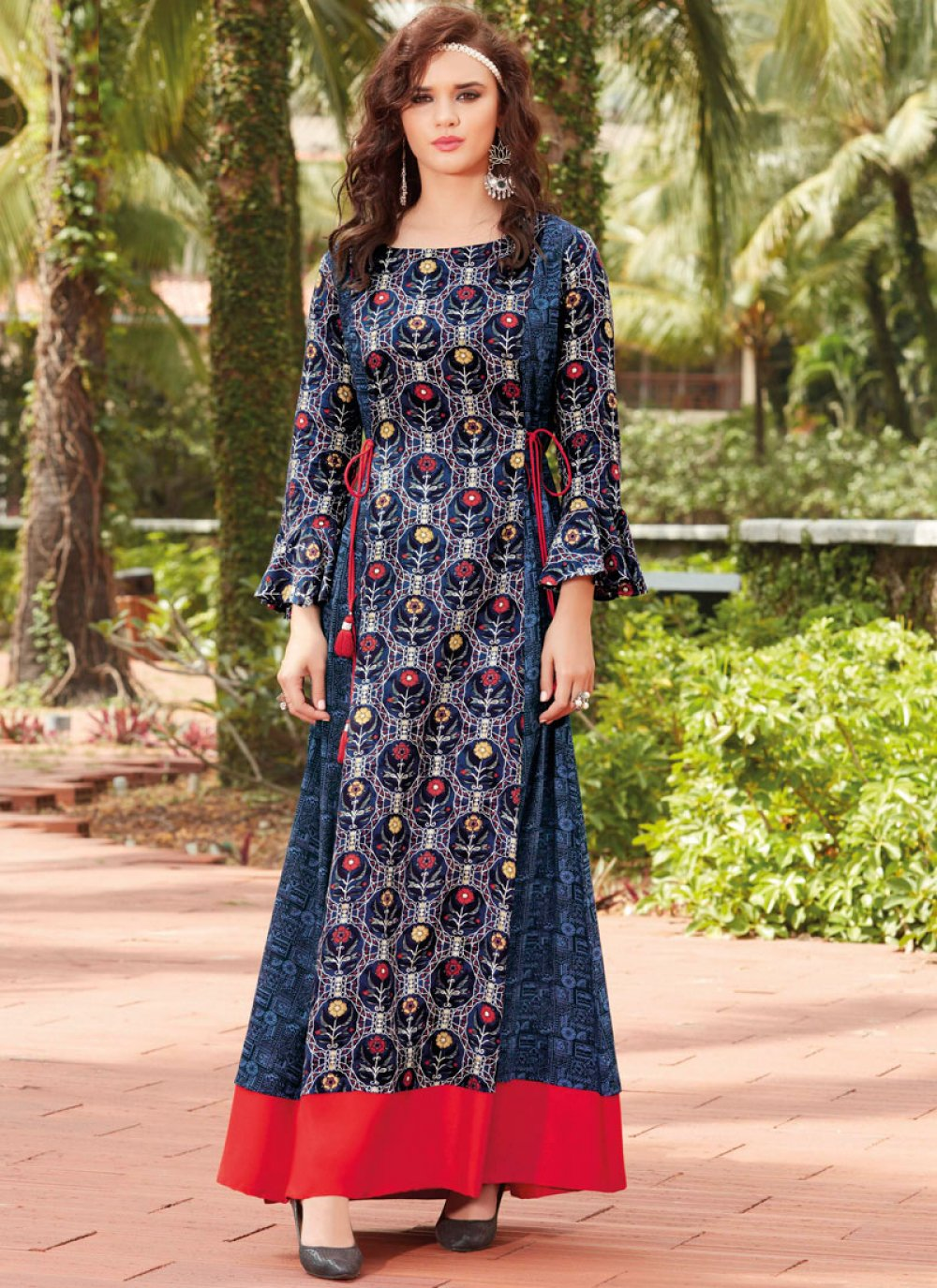 Blue Print Work Rayon Party Wear Kurti