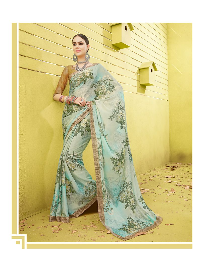 Blue Printed Work Printed Saree