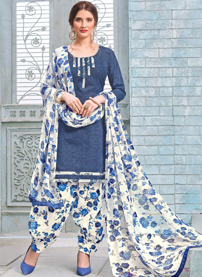 Blue Printed Work Punjabi Suit