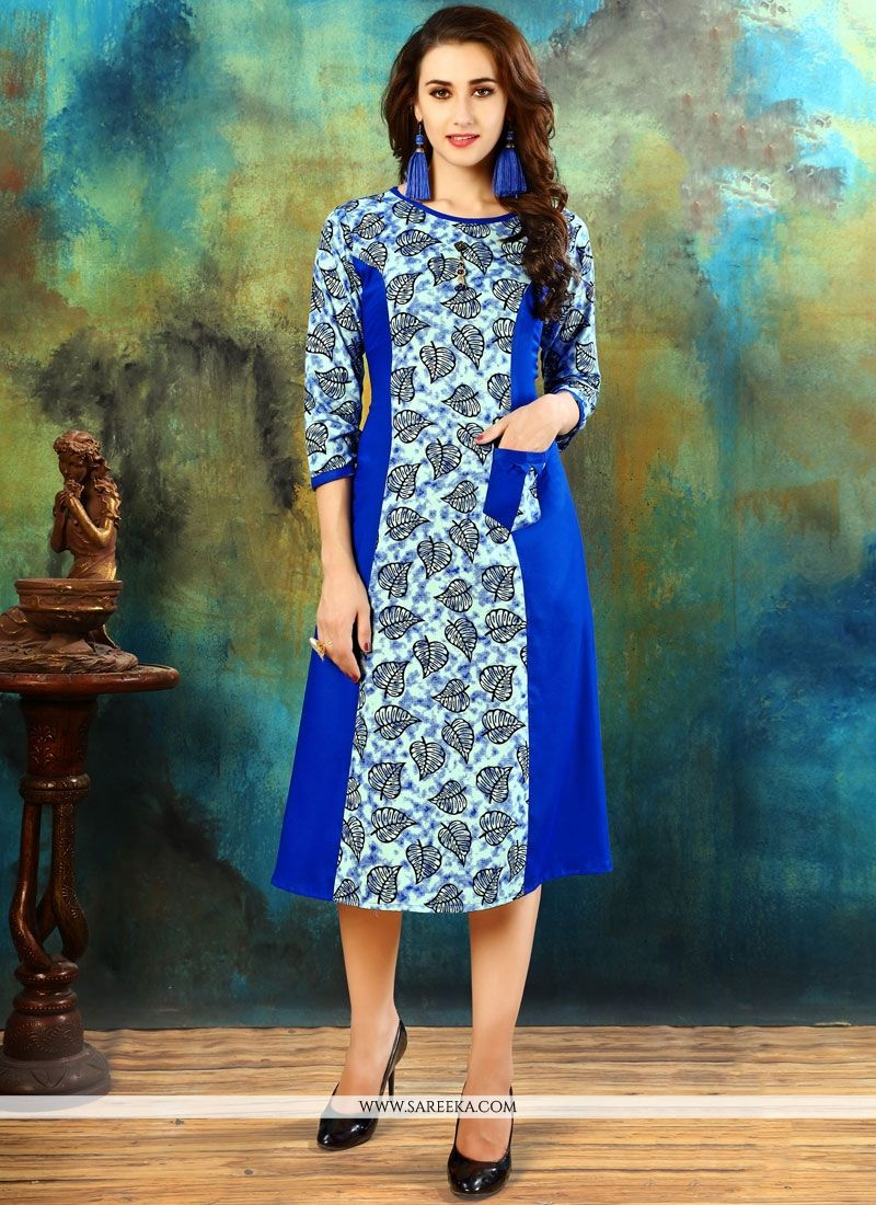 Blue Printed Work Work Cotton   Casual Kurti