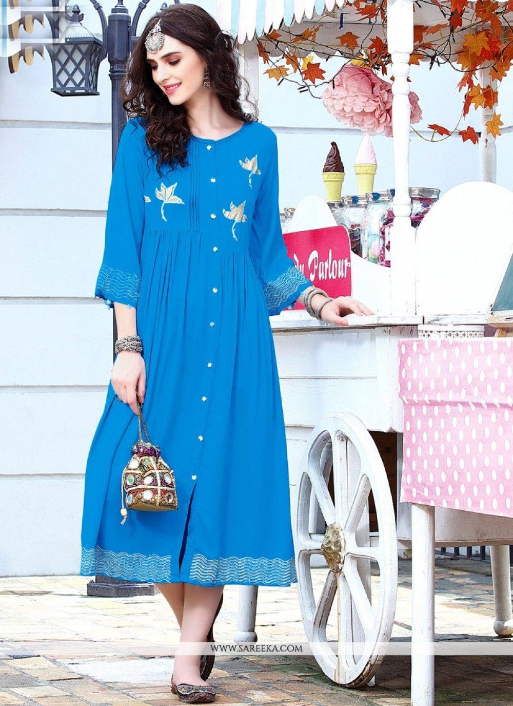 Blue Rayon Party Wear Kurti