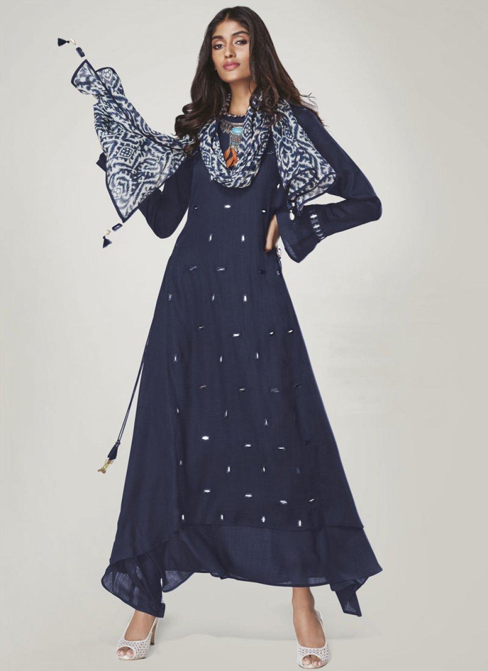 Blue Rayon Print Party Wear Kurti