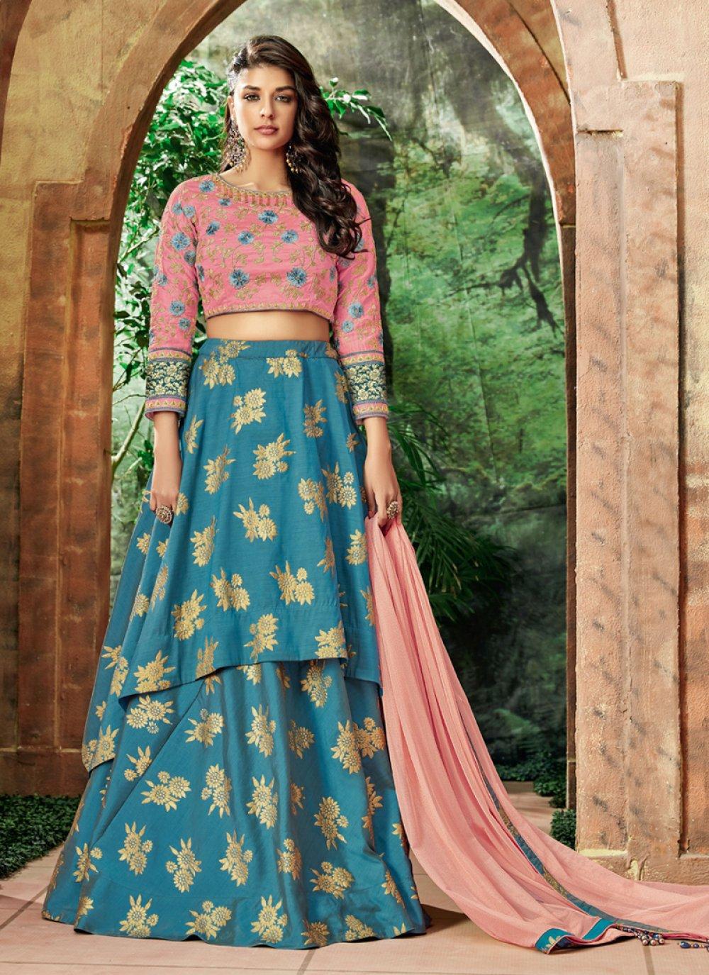 Blue Resham Art Silk Lehenga Choli