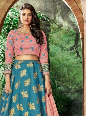 Blue Resham Art Silk Lehenga Choli