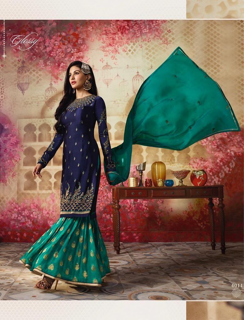 Blue Resham Designer Pakistani Suit