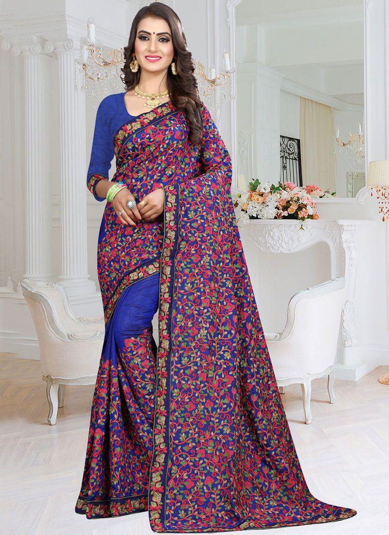 Blue Resham Fancy Fabric Classic Saree