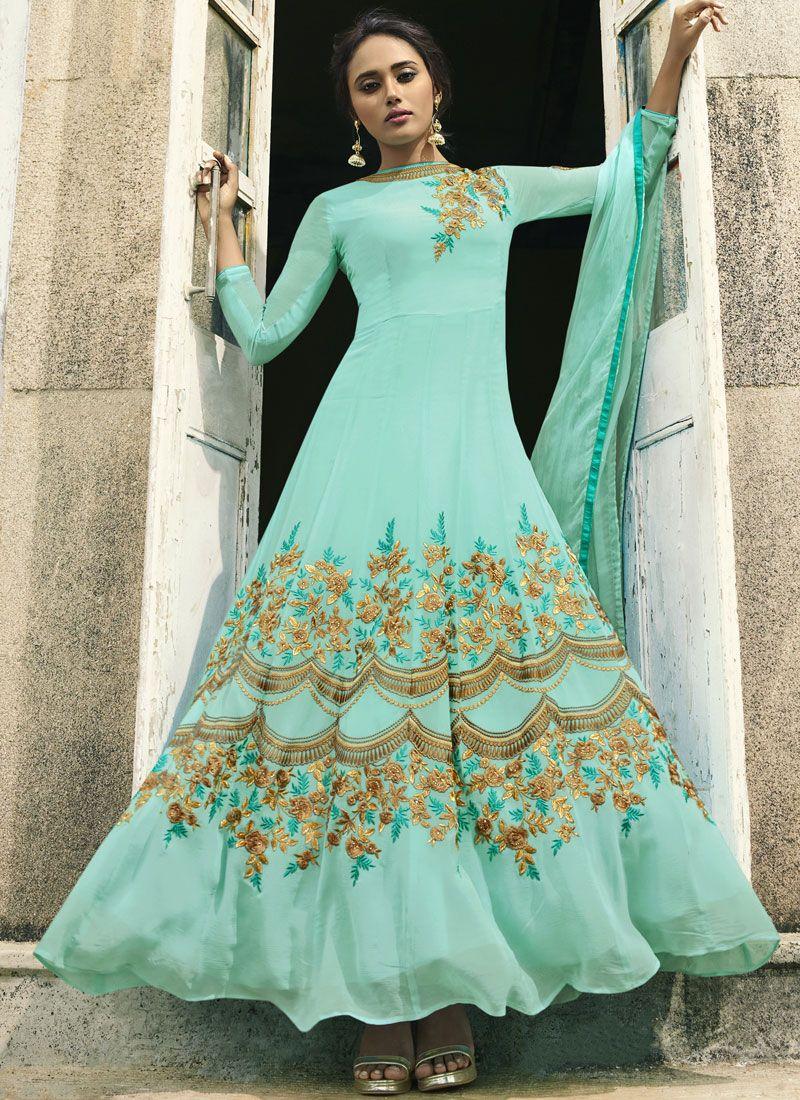 Blue Resham Faux Georgette Floor Length Anarkali Suit