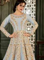 Blue Resham Malbari Silk  Floor Length Anarkali Suit
