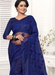 Blue Resham Net Classic Saree