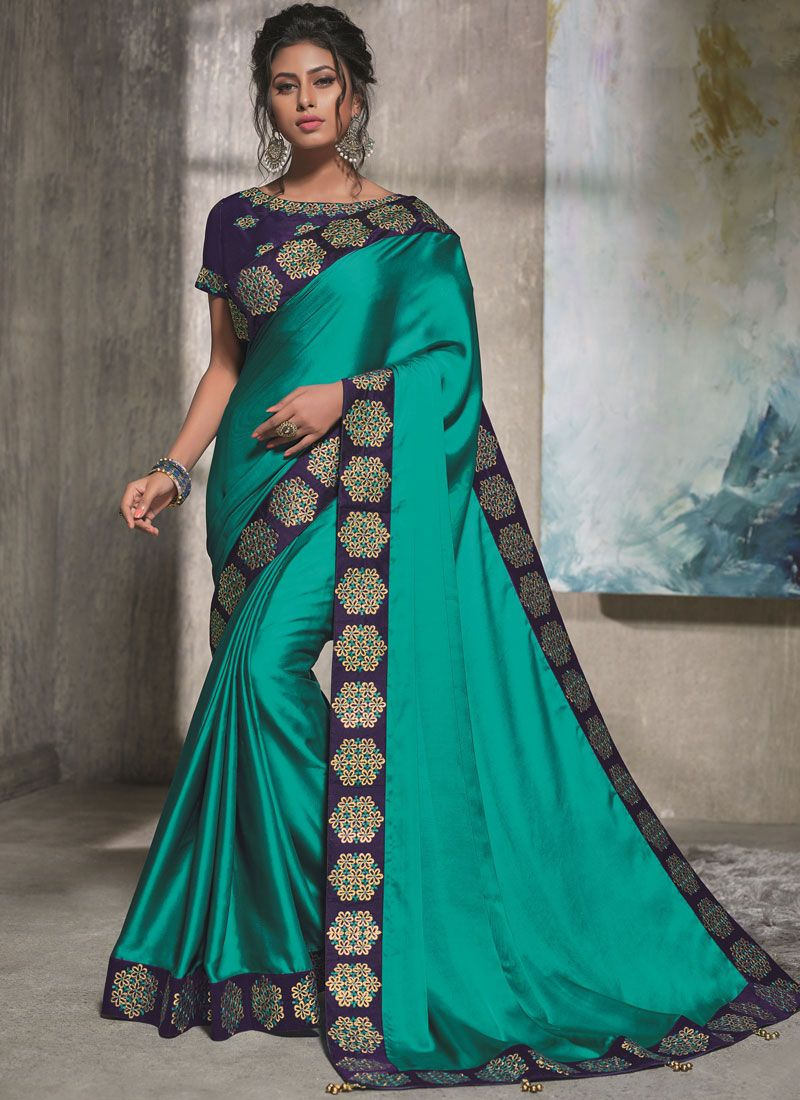 Blue Resham Traditional Saree