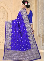Blue Resham Work Art Silk Traditional  Saree