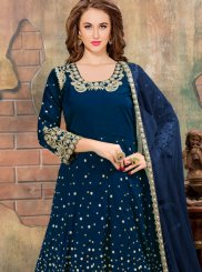 Blue Resham Work Floor Length Anarkali Suit
