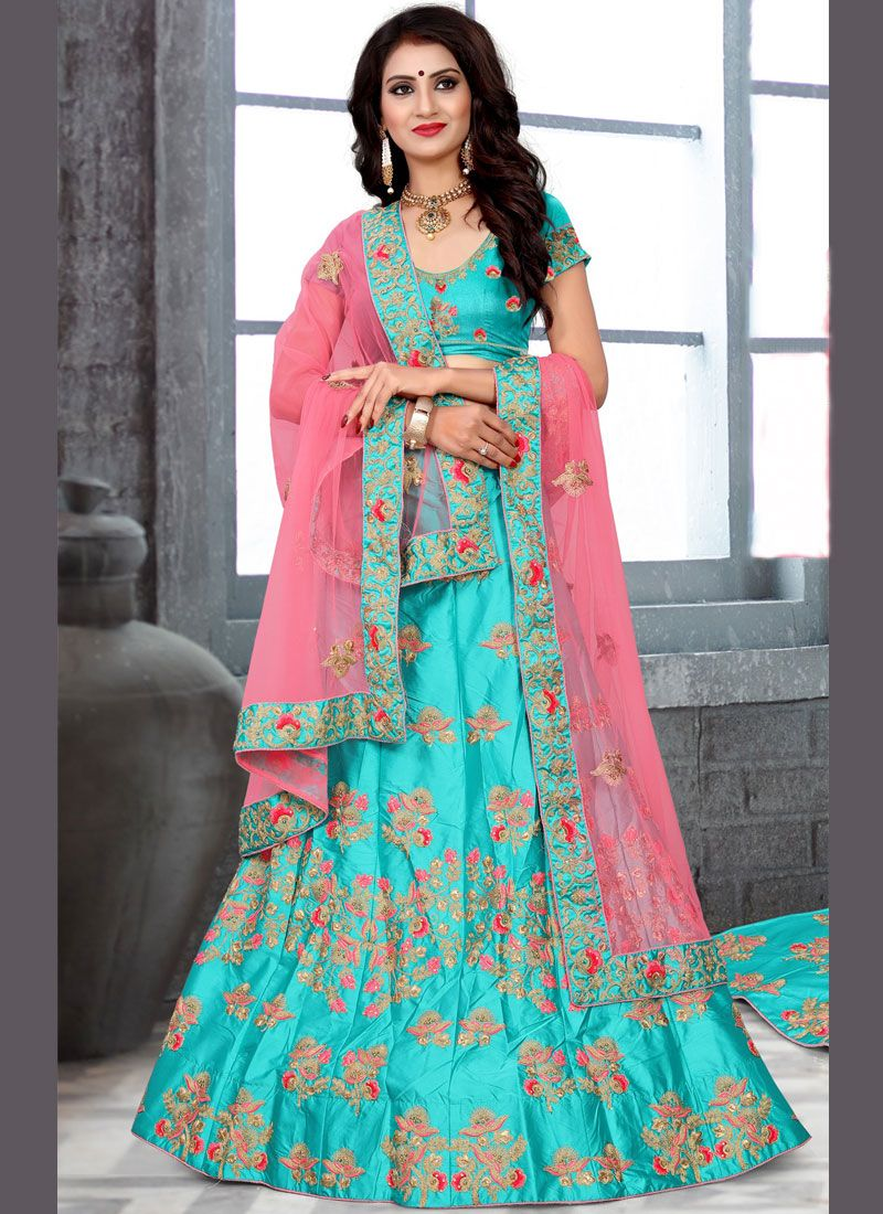Blue Resham Work Lehenga Choli