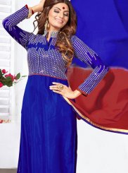 Blue Sequins Work Faux Georgette Anarkali Salwar Kameez