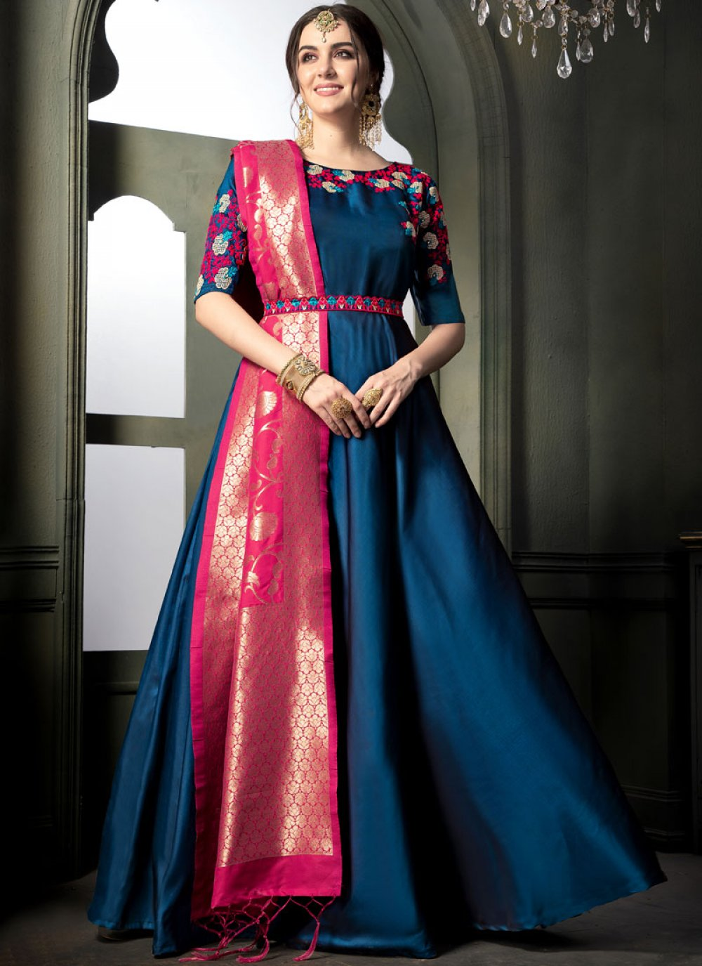 Blue Tafeta silk Floor Length Anarkali Suit