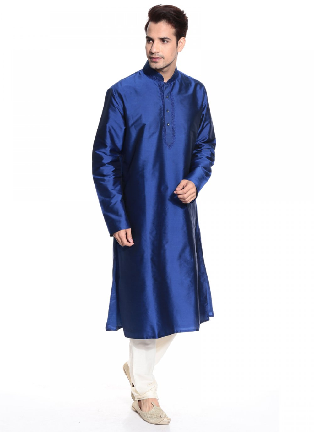 Blue Tafeta silk Kurta Pyjama with kashmiri