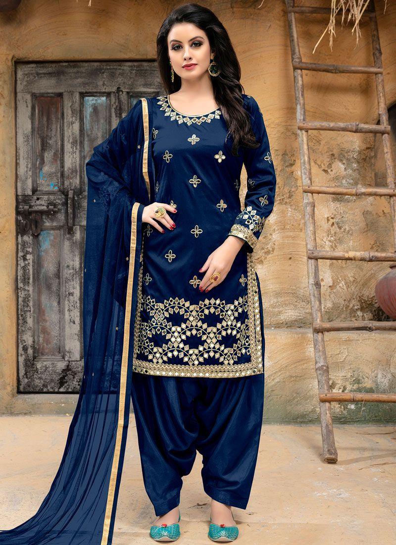 Blue Tafeta silk Party Punjabi Suit