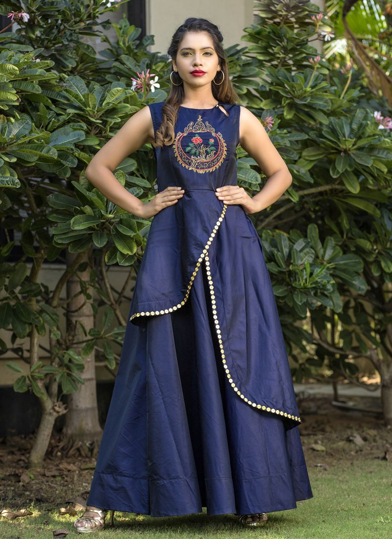 Blue Tafeta silk Party Readymade Gown