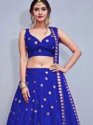 Blue Tafeta Silk Readymade Lehenga Choli