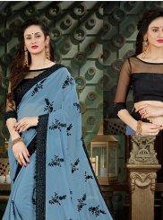Blue Thread Work Georgette Casual Saree