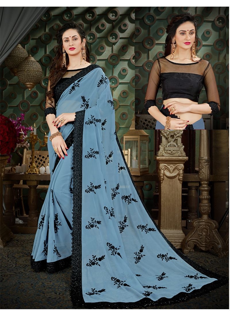Blue Thread Work Georgette Casual Saree