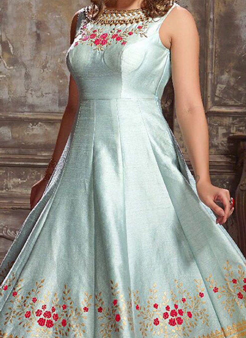 Shop Online Blue Thread Work Readymade Anarkali Suit : 70585 -