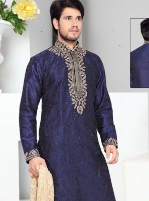 Blue Thread Work Work Art Silk Kurta Pyjama