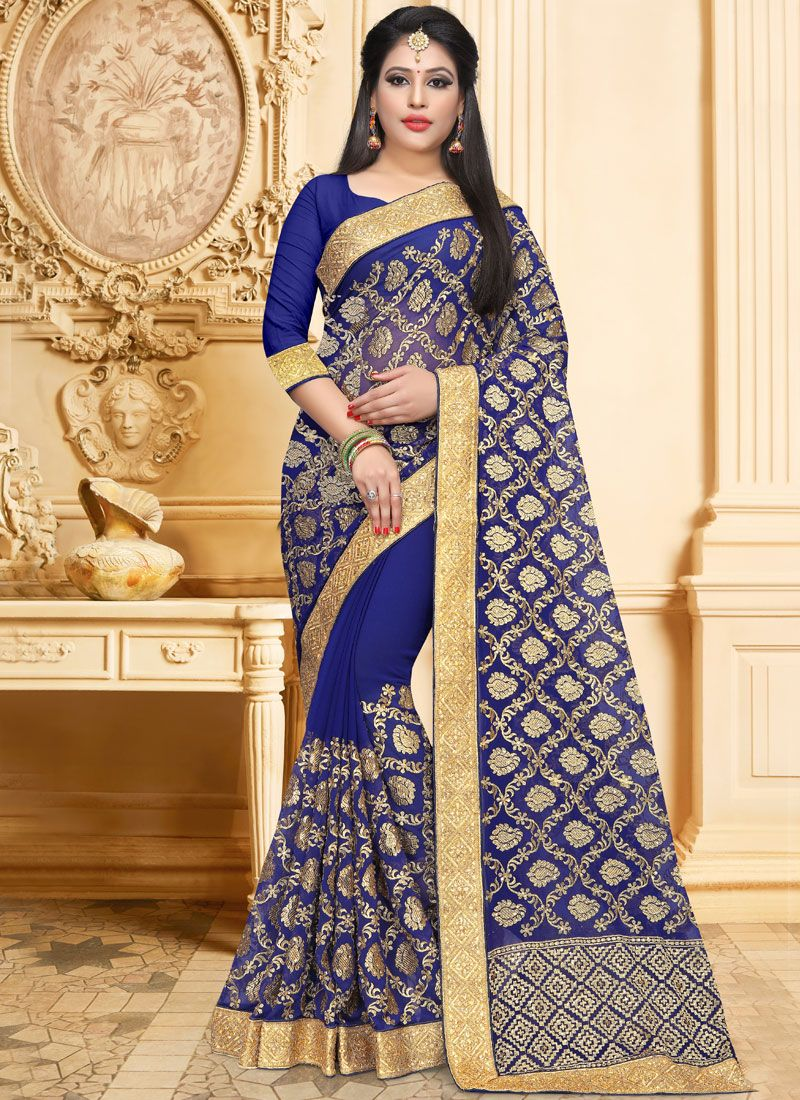 d1d9bf794 Blue Wedding Faux Georgette Saree buy online -
