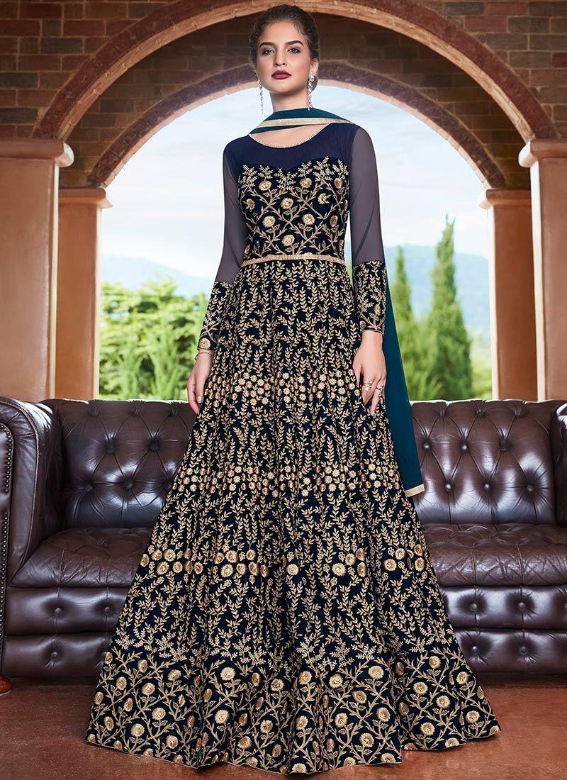 Blue Wedding Net Floor Length Anarkali Suit