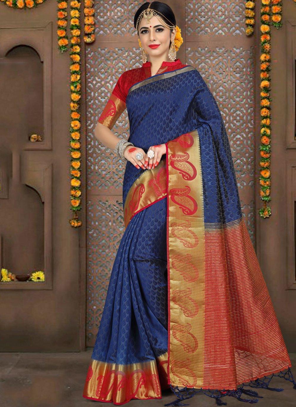 Blue Wedding Traditional Saree