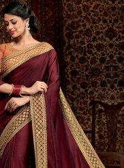 Border Satin Silk Brown Trendy Saree