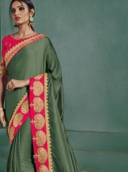 Border Silk Designer Saree in Green