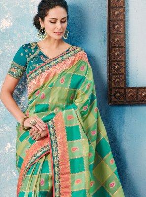 Border Tafeta silk Designer Saree in Green