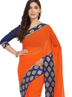 Border Work Faux Chiffon Casual Saree