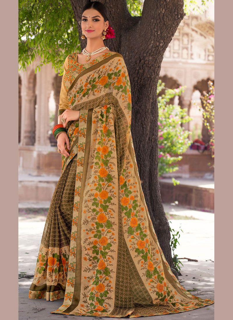 Brasso Multi Colour Embroidered Work Classic Designer Saree