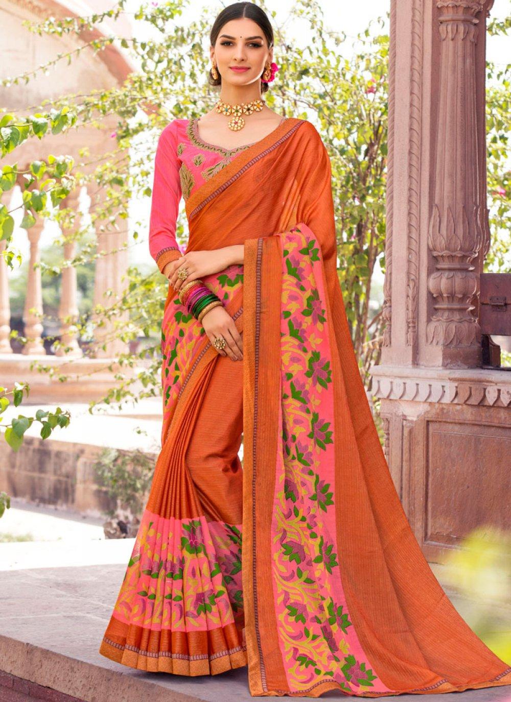 Brasso Orange Designer Saree