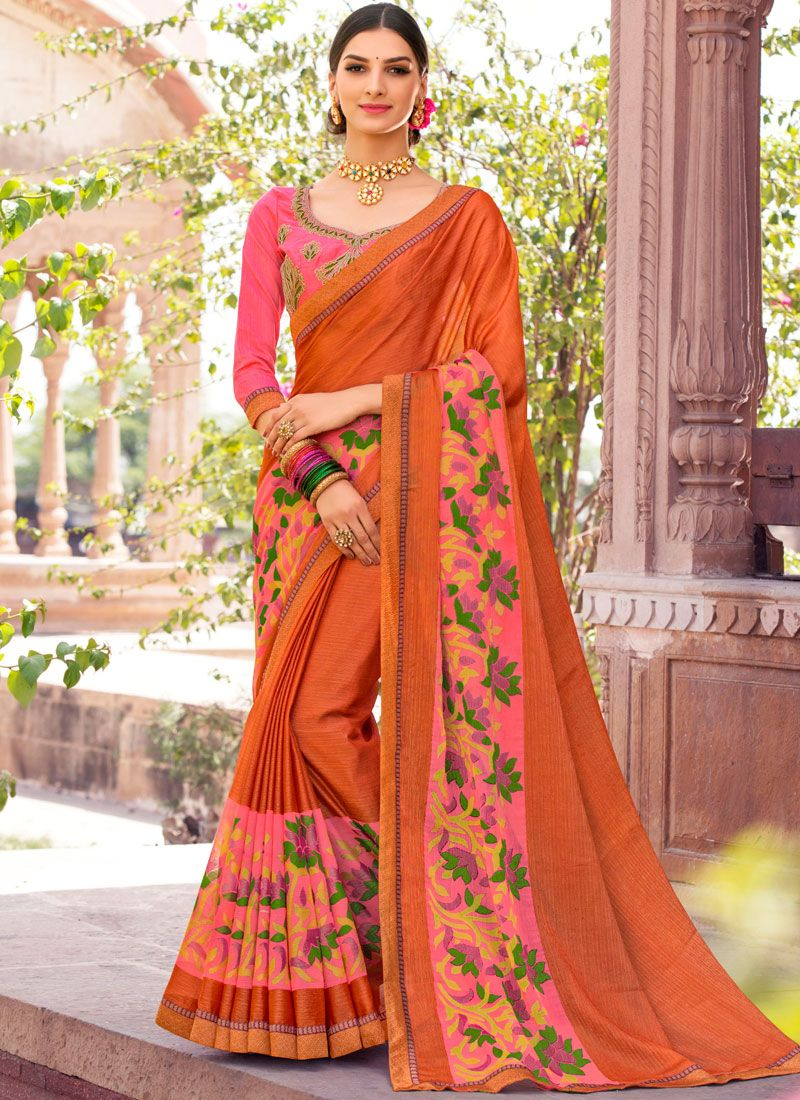 Brasso Orange Designer Saree