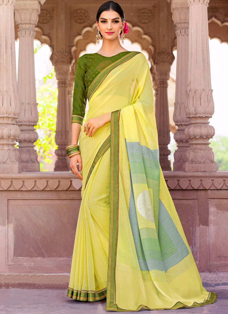 Brasso Yellow Embroidered Work Saree
