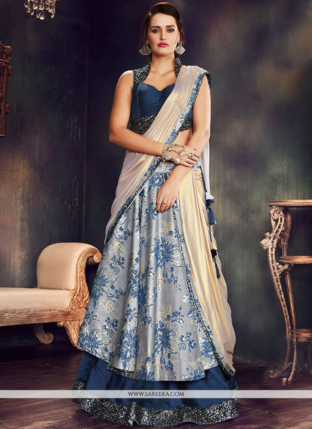 Brocade Grey and Navy Blue Lehenga Saree