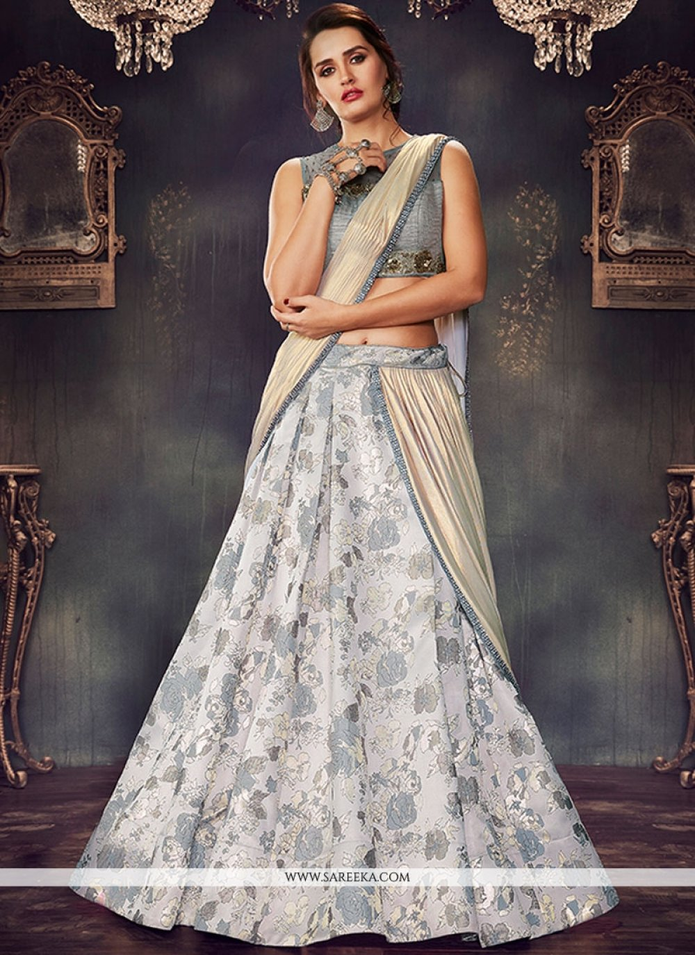 Brocade Grey Lehenga Saree