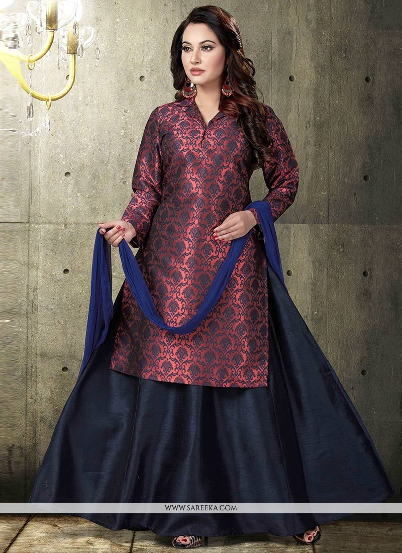 1bc5511a5a Brocade Maroon and Navy Blue Designer Long Lehenga Choli buy online -