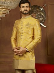 Brocade Yellow Embroidered Indo Western